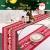 Tischläufer, rot Leinen Weihnachten Tischläufer Tischdecke mit weiss Rentier muster, rutschfeste lang Weihnachtstischdecke Weihnachtsläufer für Tisch Esstische Dekoration 12 x 108 Zoll - 4