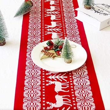 Tischläufer, rot Leinen Weihnachten Tischläufer Tischdecke mit weiss Rentier muster, rutschfeste lang Weihnachtstischdecke Weihnachtsläufer für Tisch Esstische Dekoration 12 x 108 Zoll - 5
