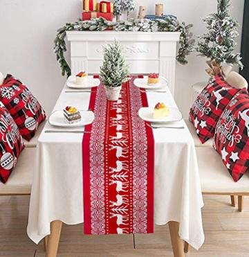 Tischläufer, rot Leinen Weihnachten Tischläufer Tischdecke mit weiss Rentier muster, rutschfeste lang Weihnachtstischdecke Weihnachtsläufer für Tisch Esstische Dekoration 12 x 108 Zoll - 6