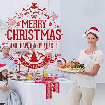 Tischläufer, rot Leinen Weihnachten Tischläufer Tischdecke mit weiss Rentier muster, rutschfeste lang Weihnachtstischdecke Weihnachtsläufer für Tisch Esstische Dekoration 12 x 108 Zoll - 7