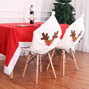Topanke Rentier Weihnachten Stuhlhusse (4er Set) Hirsch Weihnachtstisch Dekoration 50x60cm - 2