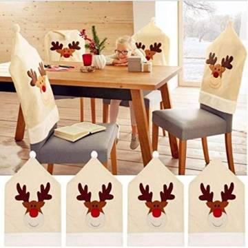 Topanke Rentier Weihnachten Stuhlhusse (4er Set) Hirsch Weihnachtstisch Dekoration 50x60cm - 1