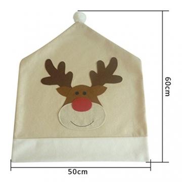 Topanke Rentier Weihnachten Stuhlhusse (4er Set) Hirsch Weihnachtstisch Dekoration 50x60cm - 6