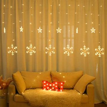Towinle LED Lichterkette Sternen Schneeflocke Lichtervorhang 138 LEDs Led Schneeflocke Sternenvorhang mit Netzstecker 8 Lichtermodi Led Kette Weihnachten Party Fester Deko - 2