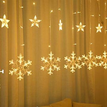 Towinle LED Lichterkette Sternen Schneeflocke Lichtervorhang 138 LEDs Led Schneeflocke Sternenvorhang mit Netzstecker 8 Lichtermodi Led Kette Weihnachten Party Fester Deko - 3