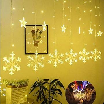Towinle LED Lichterkette Sternen Schneeflocke Lichtervorhang 138 LEDs Led Schneeflocke Sternenvorhang mit Netzstecker 8 Lichtermodi Led Kette Weihnachten Party Fester Deko - 5