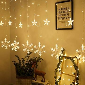 Towinle LED Lichterkette Sternen Schneeflocke Lichtervorhang 138 LEDs Led Schneeflocke Sternenvorhang mit Netzstecker 8 Lichtermodi Led Kette Weihnachten Party Fester Deko - 6