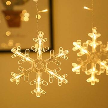 Towinle LED Lichterkette Sternen Schneeflocke Lichtervorhang 138 LEDs Led Schneeflocke Sternenvorhang mit Netzstecker 8 Lichtermodi Led Kette Weihnachten Party Fester Deko - 7