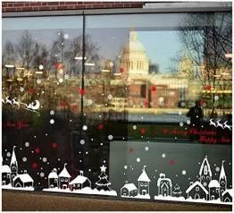 Tuopuda Weihnachtssticker Weihnachten Rentier Schneeflocken Stadt Removable Vinyl Fensterbilder Fensterdeko Weihnachtsdeko Weihnachten Wandaufkleber Wandtattoo Wandsticker (rot) - 1