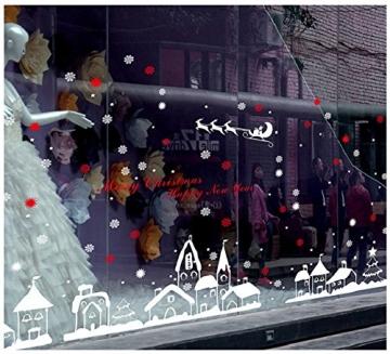 Tuopuda Weihnachtssticker Weihnachten Rentier Schneeflocken Stadt Removable Vinyl Fensterbilder Fensterdeko Weihnachtsdeko Weihnachten Wandaufkleber Wandtattoo Wandsticker (rot) - 4