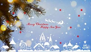 Tuopuda Weihnachtssticker Weihnachten Rentier Schneeflocken Stadt Removable Vinyl Fensterbilder Fensterdeko Weihnachtsdeko Weihnachten Wandaufkleber Wandtattoo Wandsticker (rot) - 5
