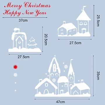 Tuopuda Weihnachtssticker Weihnachten Rentier Schneeflocken Stadt Removable Vinyl Fensterbilder Fensterdeko Weihnachtsdeko Weihnachten Wandaufkleber Wandtattoo Wandsticker (rot) - 6
