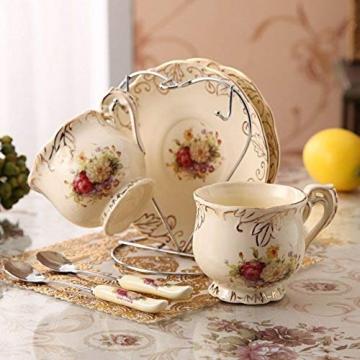 ufengke-ts 4 Stück Europäisches Königliches Elfenbein Porzellan Tee Set, Roter Und Weißer Rosen Druck Weinlese Service Kaffee Set Mit Metall Ständer, Für Hochzeit Und Haushalt - 3