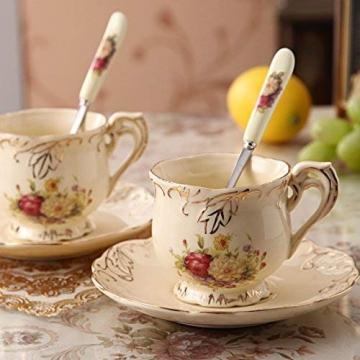 ufengke-ts 4 Stück Europäisches Königliches Elfenbein Porzellan Tee Set, Roter Und Weißer Rosen Druck Weinlese Service Kaffee Set Mit Metall Ständer, Für Hochzeit Und Haushalt - 4