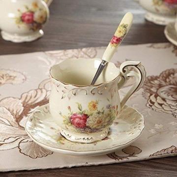 ufengke-ts 4 Stück Europäisches Königliches Elfenbein Porzellan Tee Set, Roter Und Weißer Rosen Druck Weinlese Service Kaffee Set Mit Metall Ständer, Für Hochzeit Und Haushalt - 5