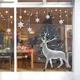 UMIPUBO Weihnachten Aufkleber Fenster Dekoration Weißer großer Elch Fensteraufkleber Schneeflocke Fensterbild PVC Entfernbarer Elektrostatischer Aufkleber Weihnachtssticker (Weihnachten) - 1