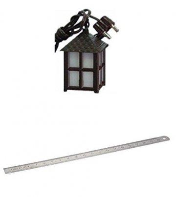 Unbekannt Krippenzubehör Laterne Kunststoff Weiss, 4-eckig, Höhe 3cm mit Edelstahl-Lineal 20cm Länge flexibel - 1