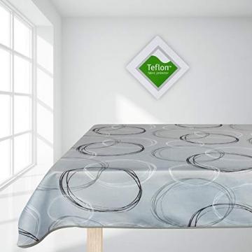 Valia Home Tischdecke Tischtuch Tafeldecke schmutzabweisend wasserabweisend Lotuseffekt pflegeleicht eckig für drinnen und draußen 140 x 240 cm grau - 2