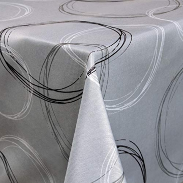 Valia Home Tischdecke Tischtuch Tafeldecke schmutzabweisend wasserabweisend Lotuseffekt pflegeleicht eckig für drinnen und draußen 140 x 240 cm grau - 3