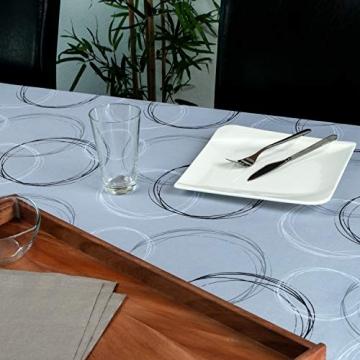 Valia Home Tischdecke Tischtuch Tafeldecke schmutzabweisend wasserabweisend Lotuseffekt pflegeleicht eckig für drinnen und draußen 140 x 240 cm grau - 5