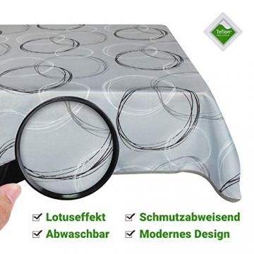 Valia Home Tischdecke Tischtuch Tafeldecke schmutzabweisend wasserabweisend Lotuseffekt pflegeleicht eckig für drinnen und draußen 140 x 240 cm grau - 7