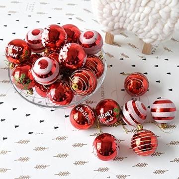 Venkaite Weihnachtskugeln Ornamente, Weihnachtsbaum Bälle Dekorationen für Weihnachten Hochzeitsfest Dekoration (24 / Pack, gemalte Kugel, 2,36 Zoll 60mm), Rot - 3