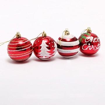 Venkaite Weihnachtskugeln Ornamente, Weihnachtsbaum Bälle Dekorationen für Weihnachten Hochzeitsfest Dekoration (24 / Pack, gemalte Kugel, 2,36 Zoll 60mm), Rot - 4