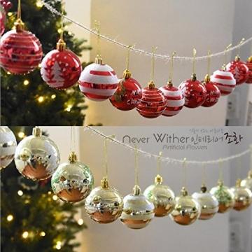 Venkaite Weihnachtskugeln Ornamente, Weihnachtsbaum Bälle Dekorationen für Weihnachten Hochzeitsfest Dekoration (24 / Pack, gemalte Kugel, 2,36 Zoll 60mm), Rot - 7