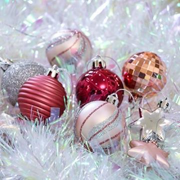 Victor's Workshop Weihnachtskugeln 35tlg. 5cm Plastik Christbaumkugeln Set, Weihnachtsbaumschmuck Dekoration Christbaumschmuck für Haus Dekoration Mysteriöser Palast Thema rosa lila silbern - 6