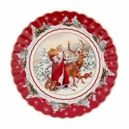 Villeroy und Boch - Toy's Fantasy Schale rund, Santa mit Waldtieren, große Snackschale aus Premium Porzellan, 25 x 25 x 5 cm, bunt/rot/weiß - 1