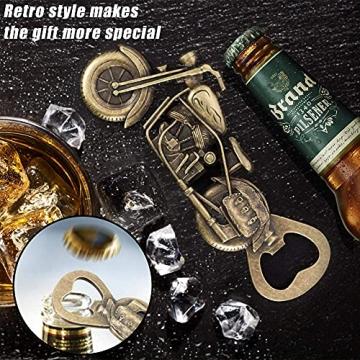 Vintage Motorrad Flaschenöffner, GOOKUURL Motorrad Bier Flaschenöffner,Metall Motorrad Flaschenöffner für Bar Party, einzigartiges Motorrad-Biergeschenk, Geschenke für Männer (Farbe Bronze) - 2