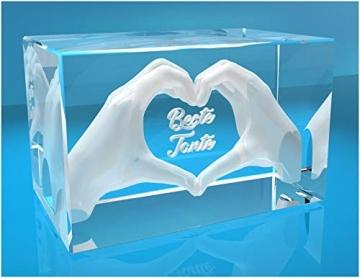 VIP-LASER 3D Glas Kristall mit Gravur I Herz aus zwei Händen I Text: Beste Tante! I Das tolle Geschenk zum Muttertag, Geburtstag oder Weihnachten - 2