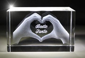 VIP-LASER 3D Glas Kristall mit Gravur I Herz aus zwei Händen I Text: Beste Tante! I Das tolle Geschenk zum Muttertag, Geburtstag oder Weihnachten - 3