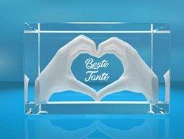 VIP-LASER 3D Glas Kristall mit Gravur I Herz aus zwei Händen I Text: Beste Tante! I Das tolle Geschenk zum Muttertag, Geburtstag oder Weihnachten - 1