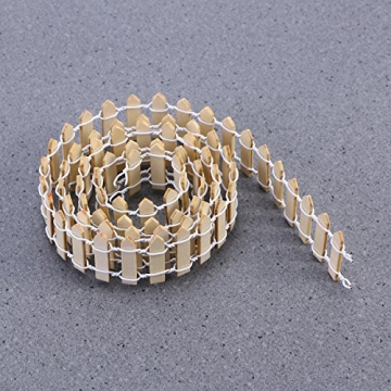 VORCOOL Kleine Holzzaun Miniatur Fee Garten Kit Micro-Landschaft Zubehör Puppenhaus Decor Bonsai Terrarium Ornament (100 cm x 3 cm) - 6