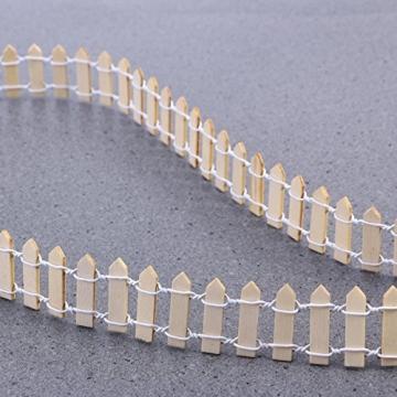 VORCOOL Kleine Holzzaun Miniatur Fee Garten Kit Micro-Landschaft Zubehör Puppenhaus Decor Bonsai Terrarium Ornament (100 cm x 3 cm) - 9