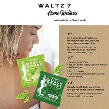 WALTZ7 Original Duschbomben Set, 16 Stück mit 8 Düften, Aromatherapie mit natürlichen ätherischen Ölen, Wellness Geschenkbox, Qualitätsmarke aus Österreich, Dankeschön Geschenk für Frauen - 4