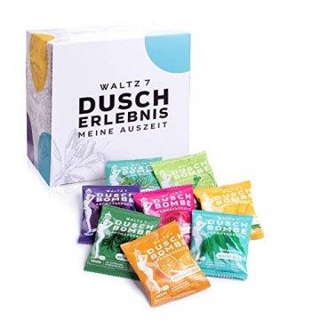 WALTZ7 Original Duschbomben Set, 16 Stück mit 8 Düften, Aromatherapie mit natürlichen ätherischen Ölen, Wellness Geschenkbox, Qualitätsmarke aus Österreich, Dankeschön Geschenk für Frauen - 1