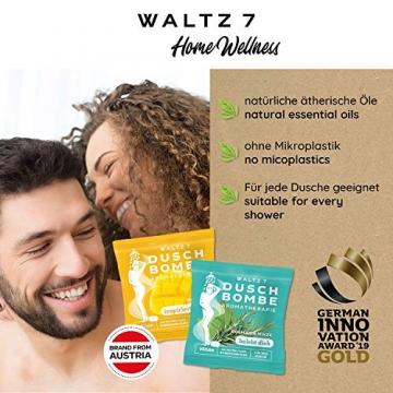 WALTZ7 Original Duschbomben Set, 16 Stück mit 8 Düften, Aromatherapie mit natürlichen ätherischen Ölen, Wellness Geschenkbox, Qualitätsmarke aus Österreich, Dankeschön Geschenk für Frauen - 5