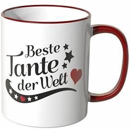 WANDKINGS® Tasse, Spruch, Beste Tante der Welt - ROT - 1