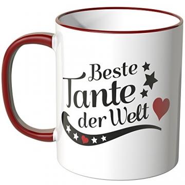 WANDKINGS® Tasse, Spruch, Beste Tante der Welt - ROT - 2