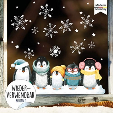 Wandtattoo Loft Fensterbild Weihnachten Pinguine Schneeflocken Wiederverwendbare Fensteraufkleber Fensterdeko Kinderzimmer - 3