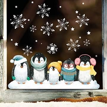 Wandtattoo Loft Fensterbild Weihnachten Pinguine Schneeflocken Wiederverwendbare Fensteraufkleber Fensterdeko Kinderzimmer - 1