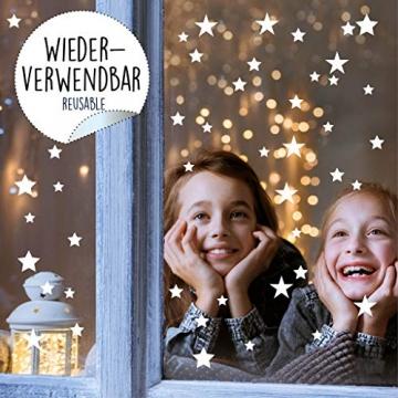 Wandtattoo Loft Fensterbild Weihnachten Sterne Wiederverwendbare winterliche Fensteraufkleber weiß Fensterdeko - 2