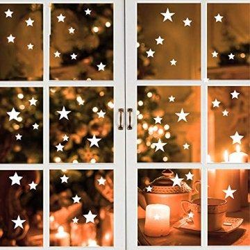 Wandtattoo Loft Fensterbild Weihnachten Sterne Wiederverwendbare winterliche Fensteraufkleber weiß Fensterdeko - 1