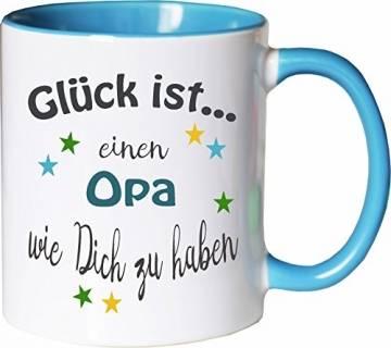 WarmherzIch Becher Tasse Glück ist… Opa Kaffee Kaffeetasse liebevoll Bedruckt Opi Großvater Vatertag Weiß-Hellblau - 1