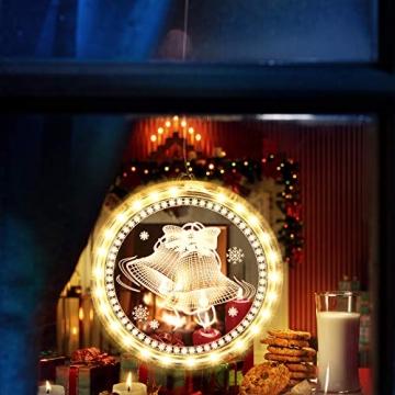 Weihnachten Dekorative Fenster Licht, Hintergrund Lichterketten für Outdoor Indoor Fenster Weg Terrasse Schlafzimmer Party Ferien Wand, Warmweiß (Glocke) - 2