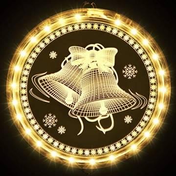 Weihnachten Dekorative Fenster Licht, Hintergrund Lichterketten für Outdoor Indoor Fenster Weg Terrasse Schlafzimmer Party Ferien Wand, Warmweiß (Glocke) - 1