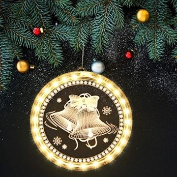 Weihnachten Dekorative Fenster Licht, Hintergrund Lichterketten für Outdoor Indoor Fenster Weg Terrasse Schlafzimmer Party Ferien Wand, Warmweiß (Glocke) - 5