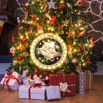 Weihnachten Dekorative Fenster Licht, Hintergrund Lichterketten für Outdoor Indoor Fenster Weg Terrasse Schlafzimmer Party Ferien Wand, Warmweiß (Glocke) - 6